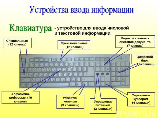- устройство для ввода числовой и текстовой информации. Функциональные (12 клавиш) Windows-клавиши (3 клавиши) Управления курсором (4 клавиши) Алфавитно-цифровые (49 клавиш) Редактирования и листания документа (7 клавиш) Цифровой блок (17 клавиш) Уп…