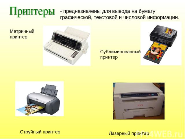 Матричный принтер Струйный принтер Лазерный принтер - предназначены для вывода на бумагу графической, текстовой и числовой информации. Сублимированный принтер