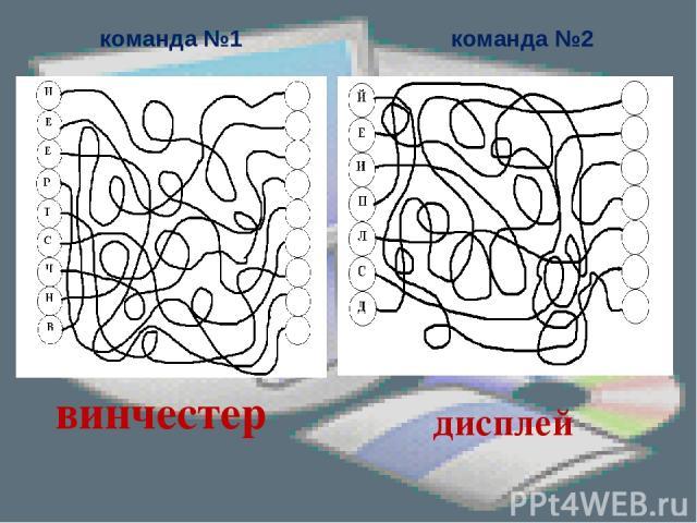 команда №1 команда №2 винчестер дисплей