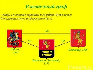 - граф, у которого вершины или рёбра (дуги) несут дополнительную информацию (вес
