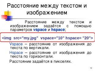 * Расстояние между текстом и изображением Расстояние между текстом и изображение
