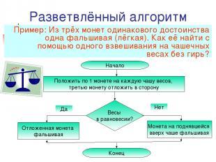 Разветвлённый алгоритм Пример: Из трёх монет одинакового достоинства одна фальши