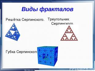 Виды фракталов Решётка Серпинского. Губка Серпинского Треугольник Серпинского.