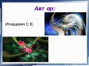 Автор: Игнацевич С.В.