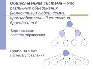Общественная система – это различные объединения (коллективы) людей: семья, прои