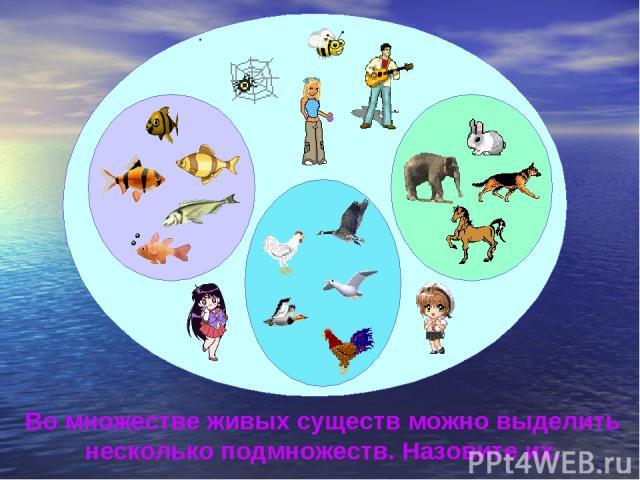 Во множестве живых существ можно выделить несколько подмножеств. Назовите их.