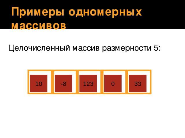 Примеры одномерных массивов Целочисленный массив размерности 5: 10 -8 123 0 33 Учащиеся объясняют, почему данный массив назван целочисленным.