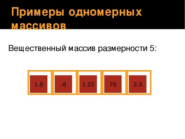 Примеры одномерных массивов Вещественный массив размерности 5: 1.8 -8 1.23 78 3.3 Учащиеся объясняют, почему данный массив назван вещественным.