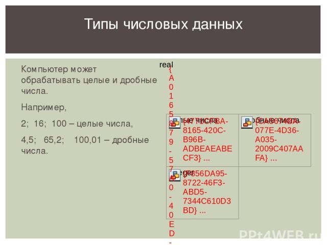 Компьютер может обрабатывать целые и дробные числа. Например, 2; 16; 100 – целые числа, 4,5; 65,2; 100,01 – дробные числа. Типы числовых данных Рассматриваем типы чисел, с которыми работает среда программирования PascalABC.