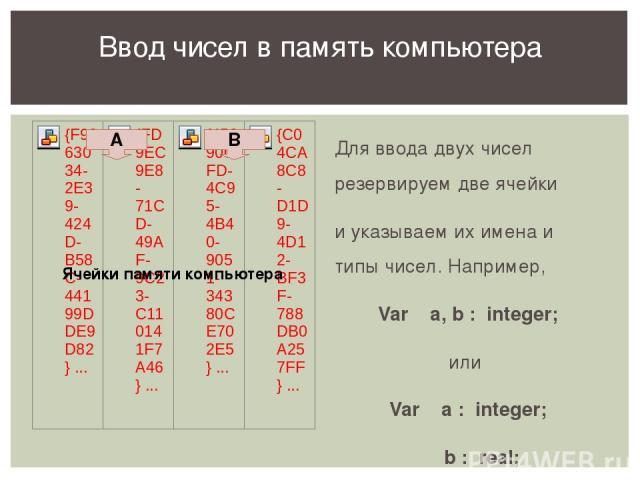Для ввода двух чисел резервируем две ячейки и указываем их имена и типы чисел. Например, Var a, b : integer; или Var a : integer; b : real; Ввод чисел в память компьютера А B Ячейки памяти компьютера В ходе показа этого слайда обсуждаем запись неско…