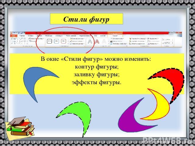 Стили фигур В окне «Стили фигур» можно изменить: контур фигуры; заливку фигуры; эффекты фигуры.