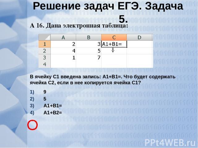 А 16. Дана электронная таблица: В ячейку С1 введена запись: А1+В1=. Что будет содержать ячейка С2, если в нее копируется ячейка С1? 9 5 А1+В1= А1+В2= Решение задач ЕГЭ. Задача 5.