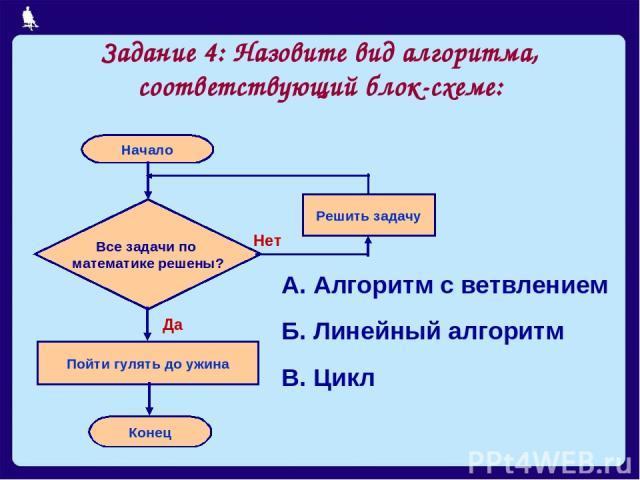 Задание 4: Назовите вид алгоритма, соответствующий блок-схеме: А. Алгоритм с ветвлением Б. Линейный алгоритм В. Цикл