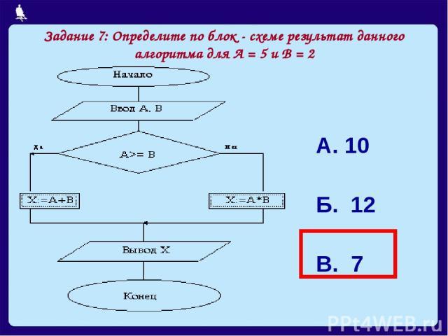 Задание 7: Определите по блок - схеме результат данного алгоритма для А = 5 и В = 2 А. 10 Б. 12 В. 7