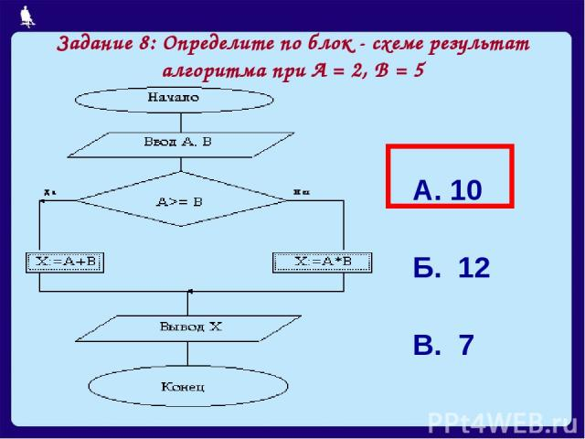 Задание 8: Определите по блок - схеме результат алгоритма при А = 2, В = 5 А. 10 Б. 12 В. 7