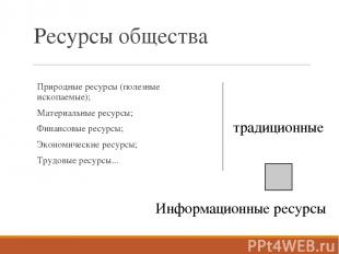 Ресурсы общества Природные ресурсы (полезные ископаемые); Материальные ресурсы;