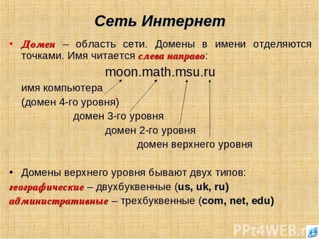 Сеть Интернет Домен – область сети. Домены в имени отделяются точками. Имя читается слева направо: moon.math.msu.ru имя компьютера (домен 4-го уровня) домен 3-го уровня домен 2-го уровня домен верхнего уровня Домены верхнего уровня бывают двух типов…