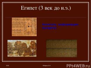 2010 ©Bolgova N A * Египет (3 век до н.э.) Носитель информации- ПАПИРУС ©Bolgova