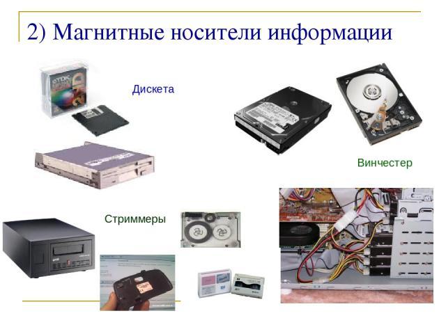 ©Bolgova N A * 2) Магнитные носители информации Дискета Винчестер Стриммеры ©Bolgova N A