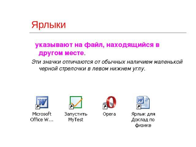 2010 ©Bolgova N A * Ярлыки указывают на файл, находящийся в другом месте. Эти значки отличаются от обычных наличием маленькой черной стрелочки в левом нижнем углу. ©Bolgova N A