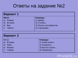 Ответы на задание №2 Вариант 1 Меню а) Формат б) Вставка в) Вид г) Записи Команд