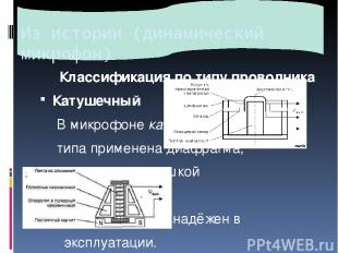 Из истории (динамический микрофон) Классификация по типу проводника Катушечный В