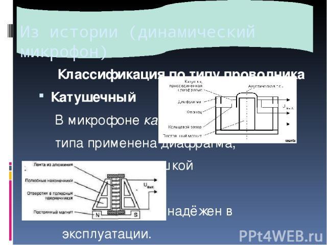 Из истории (динамический микрофон) Классификация по типу проводника Катушечный В микрофонекатушечного типа применена диафрагма, связанная с катушкой индуктивности. Такой микрофон надёжен в эксплуатации. Ленточный В микрофонеленточноготипа вместо…