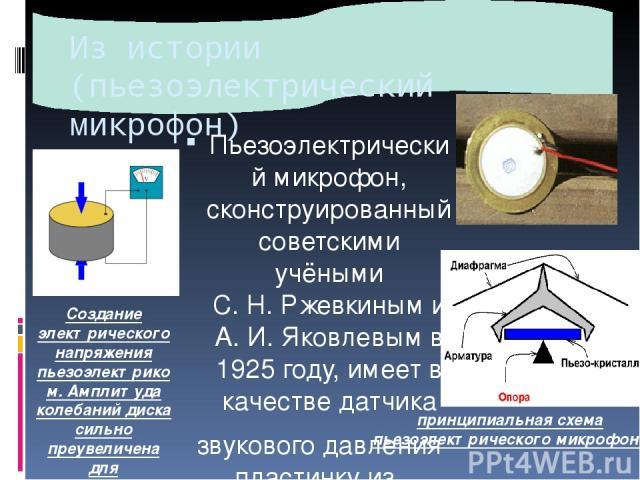 Из истории (пьезоэлектрический микрофон) Пьезоэлектрический микрофон, сконструированный советскими учёными С.Н.Ржевкиным и А.И.Яковлевым в 1925 году, имеет в качестве датчика звукового давления пластинку из вещества, обладающего пьезоэлектричес…