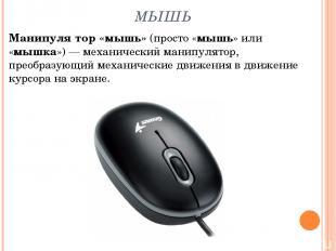 МЫШЬ Манипуля тор «мышь» (просто «мышь» или «мышка»)— механический манипулятор,