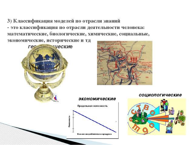 3) Классификация моделей по отрасли знаний - это классификация по отрасли деятельности человека: математические, биологические, химические, социальные, экономические, исторические и тд  географические исторические социологические экономические