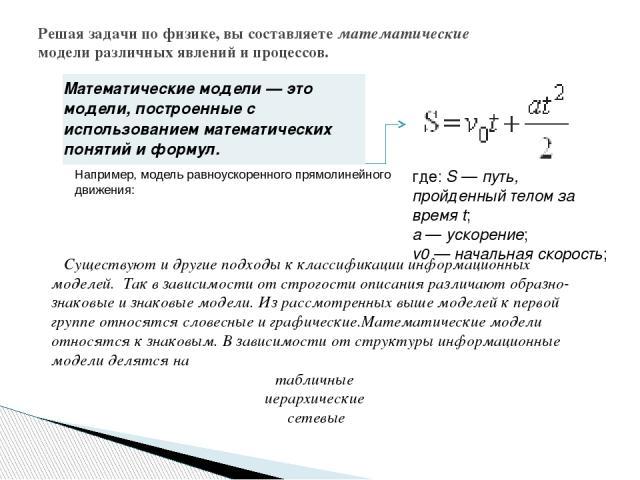 Решая задачи по физике, вы составляете математические модели различных явлений и процессов.   Например, модель равноускоренного прямолинейного движения: где: S — путь, пройденный телом за время t; a — ускорение; v0 — начальная скорость; Существуют…