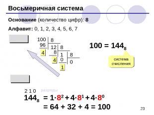 Восьмеричная система Основание (количество цифр): 8 Алфавит: 0, 1, 2, 3, 4, 5, 6