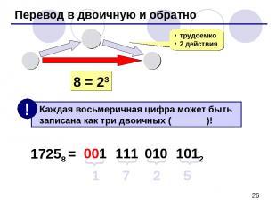 Перевод в двоичную и обратно 8 10 2 трудоемко 2 действия 8 = 23 17258 = 1 7 2 5