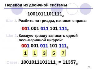 Перевод из двоичной системы 10010111011112 Шаг 1. Разбить на триады, начиная спр