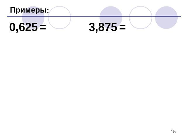 Примеры: 0,625 = 3,875 =
