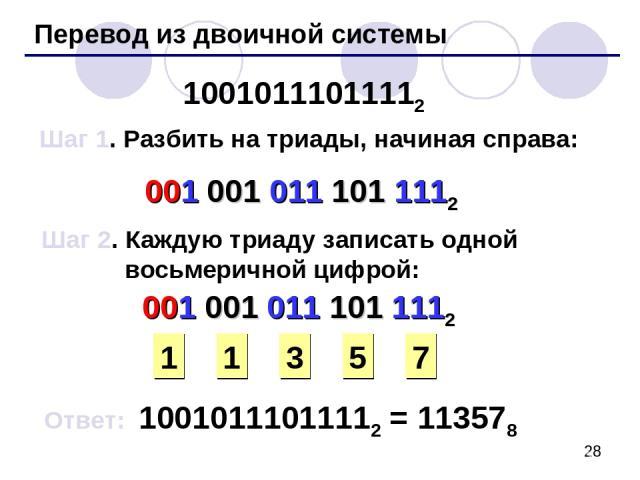 Перевод из двоичной системы 10010111011112 Шаг 1. Разбить на триады, начиная справа: 001 001 011 101 1112 Шаг 2. Каждую триаду записать одной восьмеричной цифрой: 1 3 5 7 Ответ: 10010111011112 = 113578 001 001 011 101 1112 1