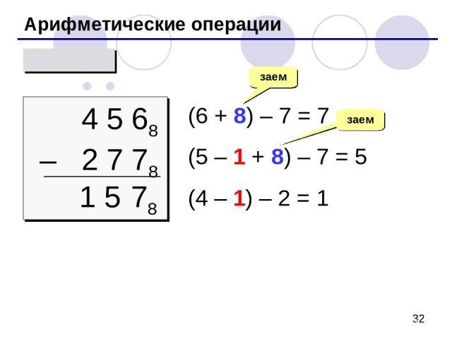 Арифметические операции вычитание 4 5 68 – 2 7 78 (6 + 8) – 7 = 7 (5 – 1 + 8) – 7 = 5 (4 – 1) – 2 = 1 заем 78 1 5 заем