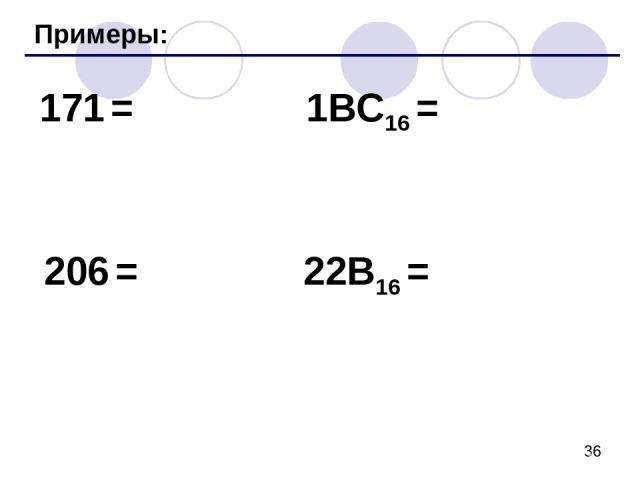 Примеры: 171 = 206 = 1BC16 = 22B16 =