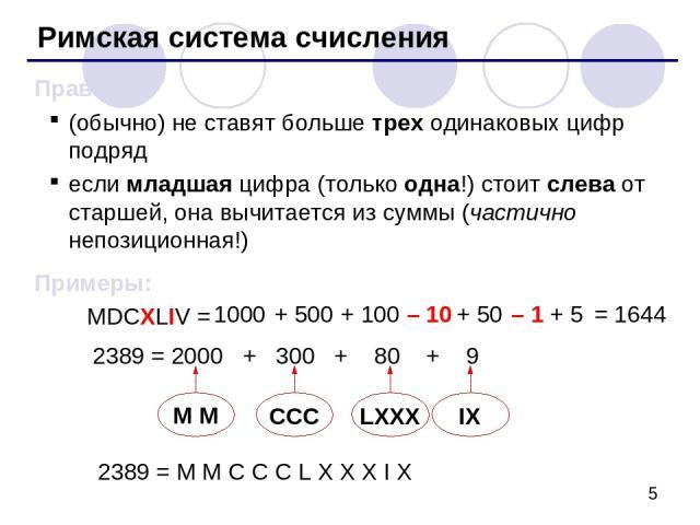 Римская система счисления Правила: (обычно) не ставят больше трех одинаковых цифр подряд если младшая цифра (только одна!) стоит слева от старшей, она вычитается из суммы (частично непозиционная!) Примеры: MDCXLIV = 1000 + 500 + 100 – 10 + 50 – 1 + …