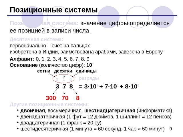 Позиционные системы Позиционная система: значение цифры определяется ее позицией в записи числа. Десятичная система: первоначально – счет на пальцах изобретена в Индии, заимствована арабами, завезена в Европу Алфавит: 0, 1, 2, 3, 4, 5, 6, 7, 8, 9 Ос…