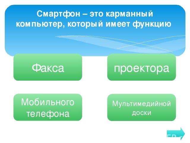 Смартфон – это карманный компьютер, который имеет функцию Факса Мобильного телефона Мультимедийной доски проектора