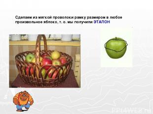 Сделаем из мягкой проволоки рамку размером в любое произвольное яблоко, т. о. мы