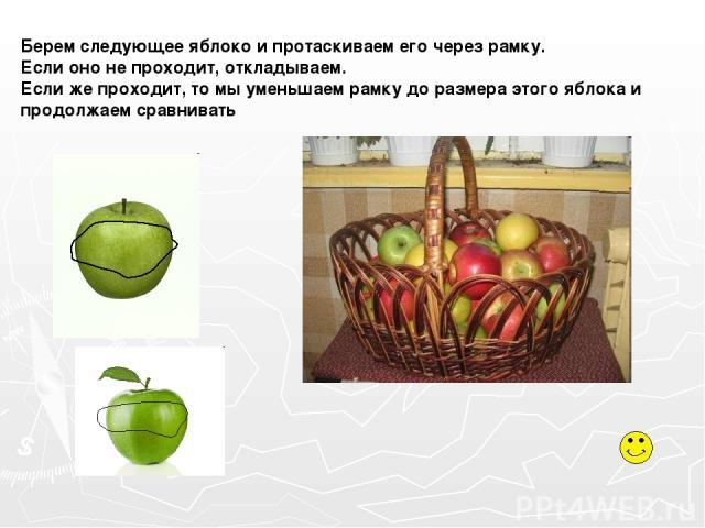 Берем следующее яблоко и протаскиваем его через рамку. Если оно не проходит, откладываем. Если же проходит, то мы уменьшаем рамку до размера этого яблока и продолжаем сравнивать