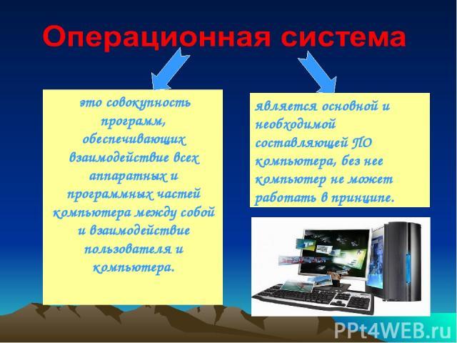 это совокупность программ, обеспечивающих взаимодействие всех аппаратных и программных частей компьютера между собой и взаимодействие пользователя и компьютера. является основной и необходимой составляющей ПО компьютера, без нее компьютер не может р…