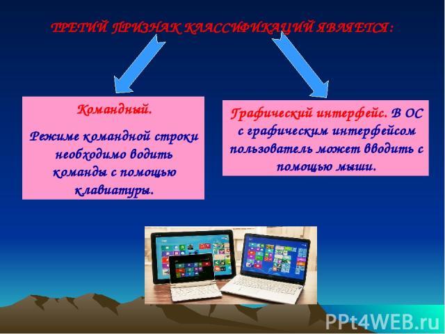 Командный. Режиме командной строки необходимо водить команды с помощью клавиатуры. Графический интерфейс. В ОС с графическим интерфейсом пользователь может вводить с помощью мыши. ТРЕТИЙ ПРИЗНАК КЛАССИФИКАЦИЙ ЯВЛЯЕТСЯ: