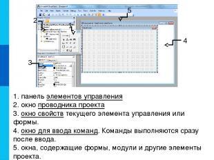 1. панель элементов управления 2. окно проводника проекта 3. окно свойств текуще