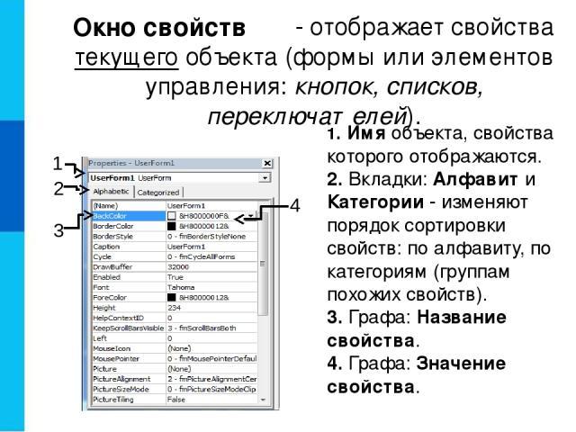 - отображает свойства текущего объекта (формы или элементов управления: кнопок, списков, переключателей). 1. Имя объекта, свойства которого отображаются. 2. Вкладки: Алфавит и Категории - изменяют порядок сортировки свойств: по алфавиту, по категори…