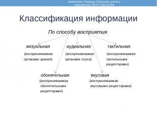 Классификация информации По способу восприятия визуальная аудиальная тактильная