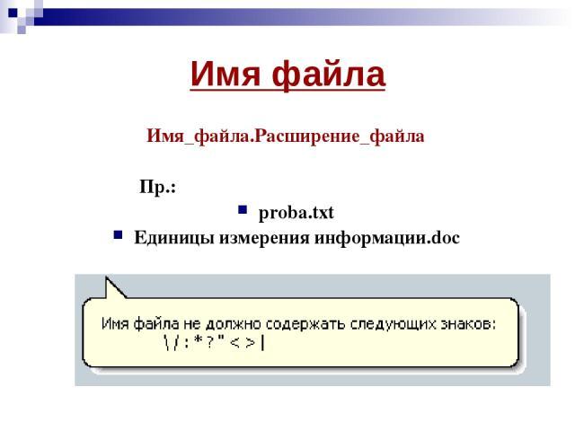Имя файла Имя_файла.Расширение_файла Пр.: proba.txt Единицы измерения информации.doc