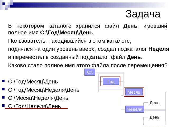 В некотором каталоге хранился файл День, имевший полное имя С:\Год\Месяц\День. Пользователь, находившийся в этом каталоге, поднялся на один уровень вверх, и переместил в созданный подкаталог файл День. Каково стало полное имя этого файла после перем…